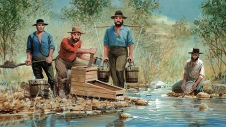 Immagine emblematica della corsa all'oro in America.