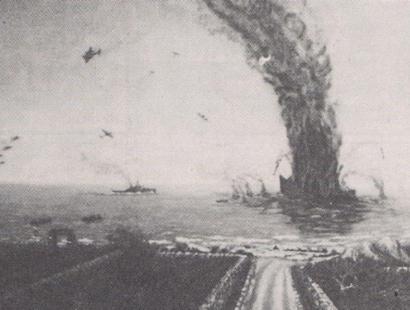 Torre Vado, l'esplosione della nave San Andrea, nel dipinto di Renzo Morciano.
